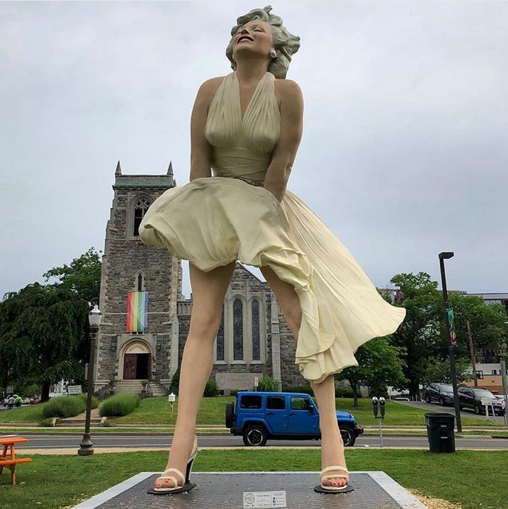 A 26-foot statue of Marilyn Monroe was installed in front of a church in Stamford, Connecticut, last week.
