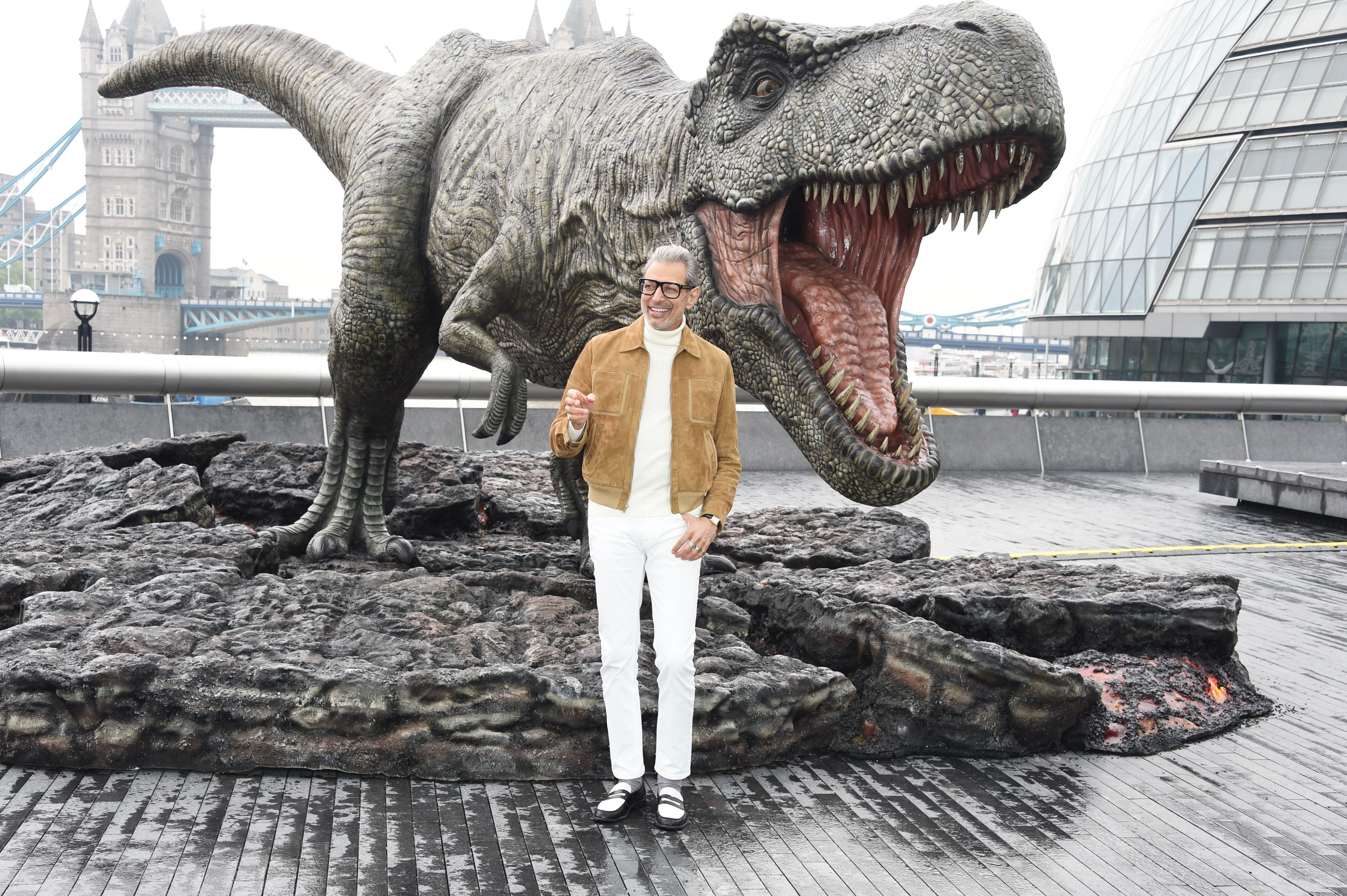 LONDON, ENGLAND - MAY 24:  Jeff Goldblum poses during the 'Jurassic World: Fallen Kingdom' photocall at London Bridge on May 24, 2018 in London, England.  (Photo by David M. Benett/Dave Benett/WireImage)