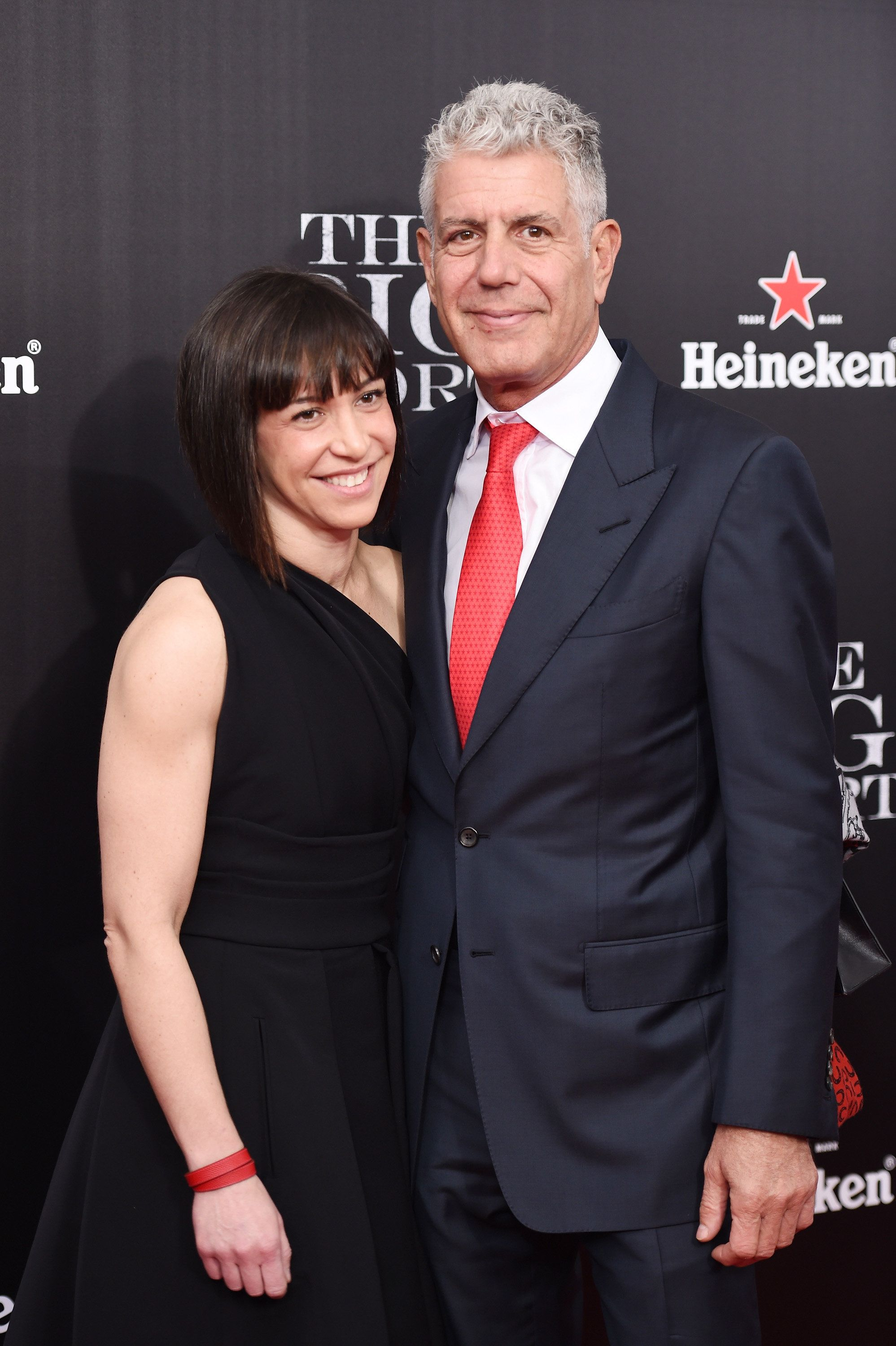 NEW YORK, NY - NOVEMBER 23:  Ottavia Busia and chef Anthony Bourdain attend the premiere of 'The Big Short' at Ziegfeld Theatre on November 23, 2015 in New York City.  (Photo by Dimitrios Kambouris/Getty Images)