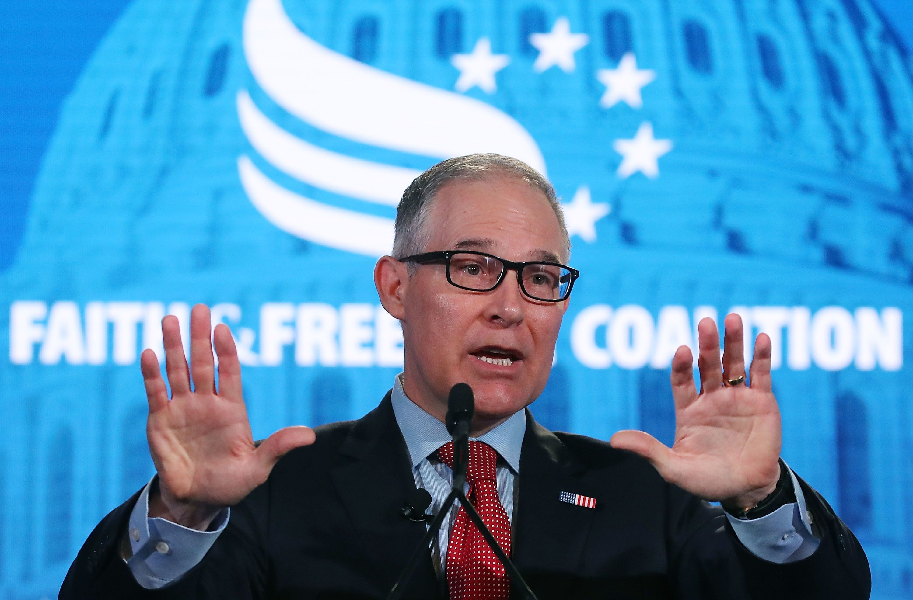 WASHINGTON, DC - JUNE 08:  EPA Administrator Scott Pruitt speaks at the Faith and Freedom Coalition Road to Majority Policy Conference, at the Omni Shoreham Hotel, on June 8, 2018 in Washington, DC.  Pruitt is facing mutiple ethics scandals from his actions since taking over the agency.  (Photo by Mark Wilson/Getty Images)