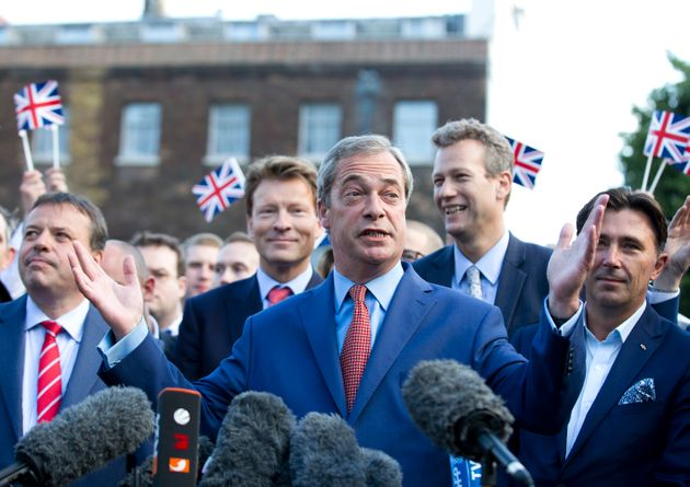 Banks (far-left), Farage and Wigmore (far-right) shortly after the EU referendum in 2016.