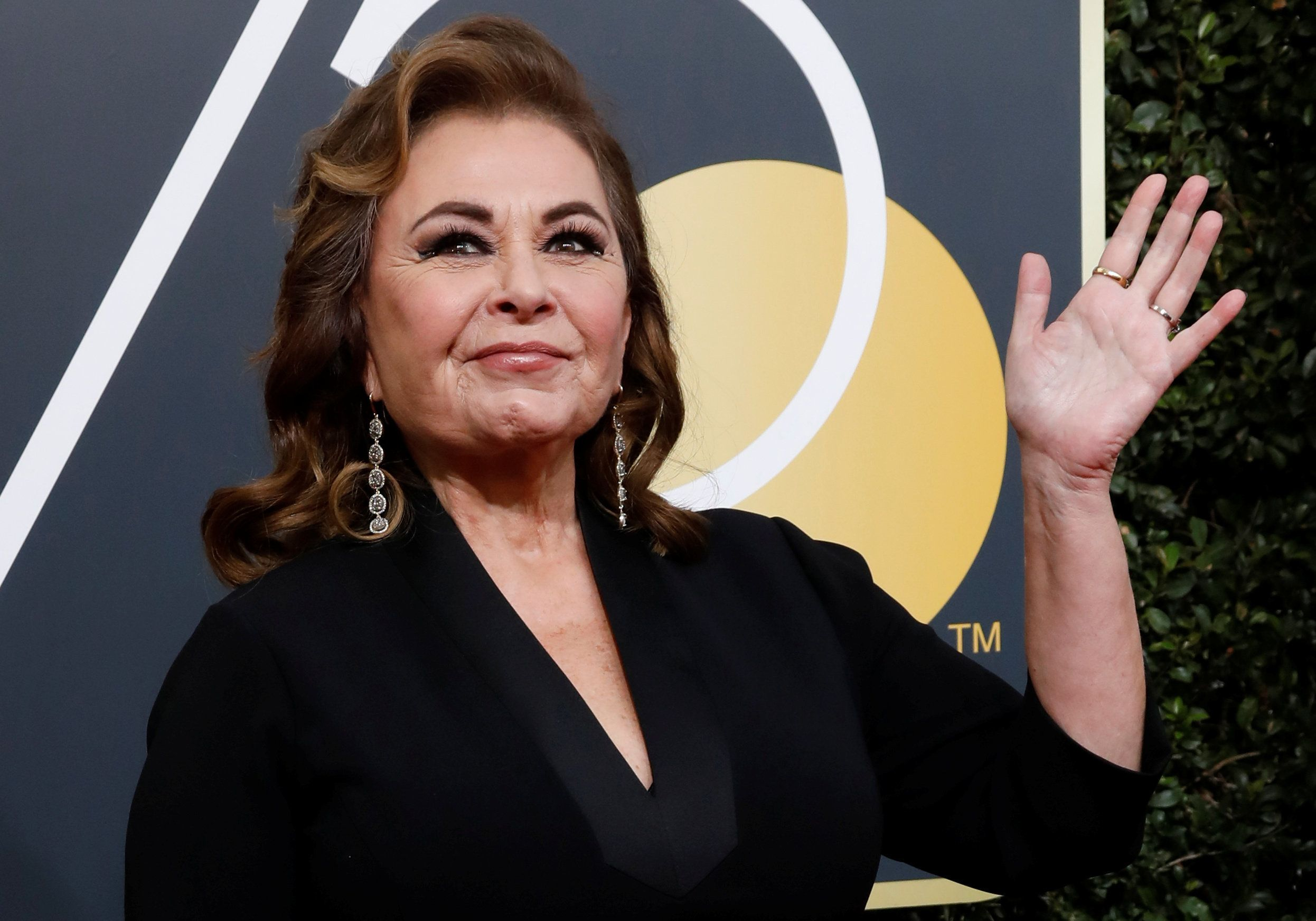 Actress Roseanne Barr arrives at the Golden Globe Awards on Jan. 7
