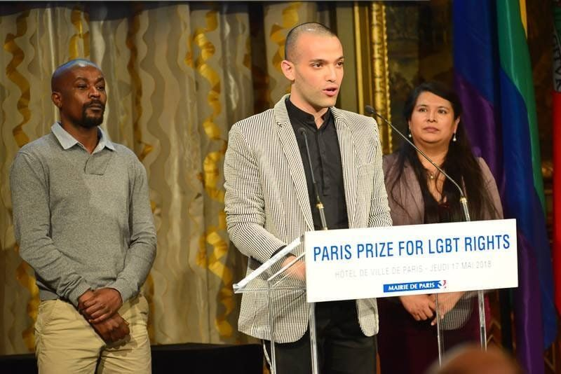 Trans rights activist Ameen Rhayem is seen speaking in an undated photo.