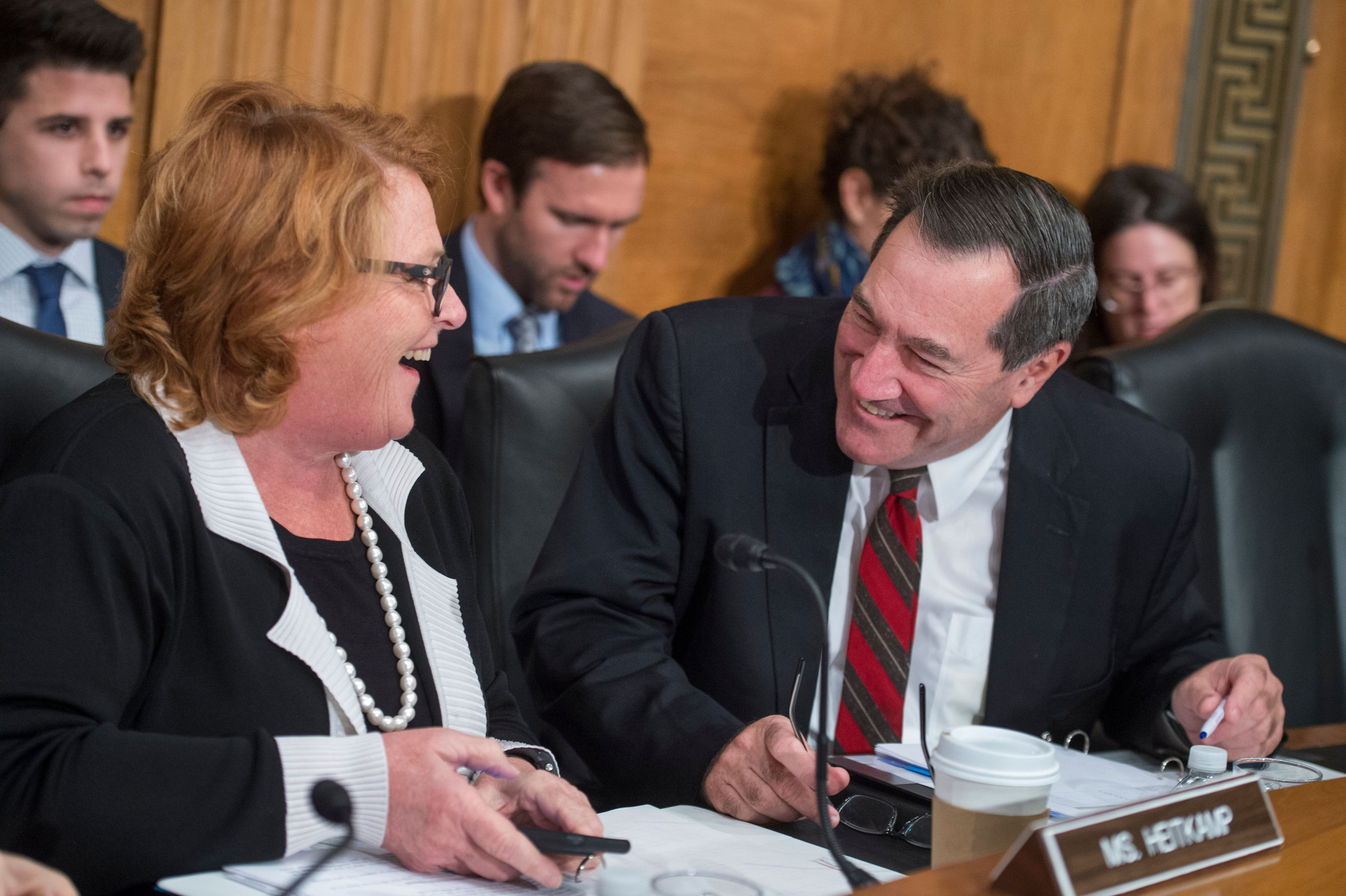Sens. Heidi Heitkamp (D-N.D.) and Joe Donnelly (D-Ind.) are in tight re-election races this year. The Trump administration&nb