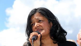 SEATAC, WA - JUNE 09: Congresswoman Pramila Jayapal speaks at a press conference outside a Federal Detention Center holding migrant women on June 9, 2018 in SeaTac, Washington. Congresswoman Pramila Jayapal visited the SeaTac Federal Detention Center to meet with more than 100 asylum seekers, many of whom are women. (Photo by Karen Ducey/Getty Images)