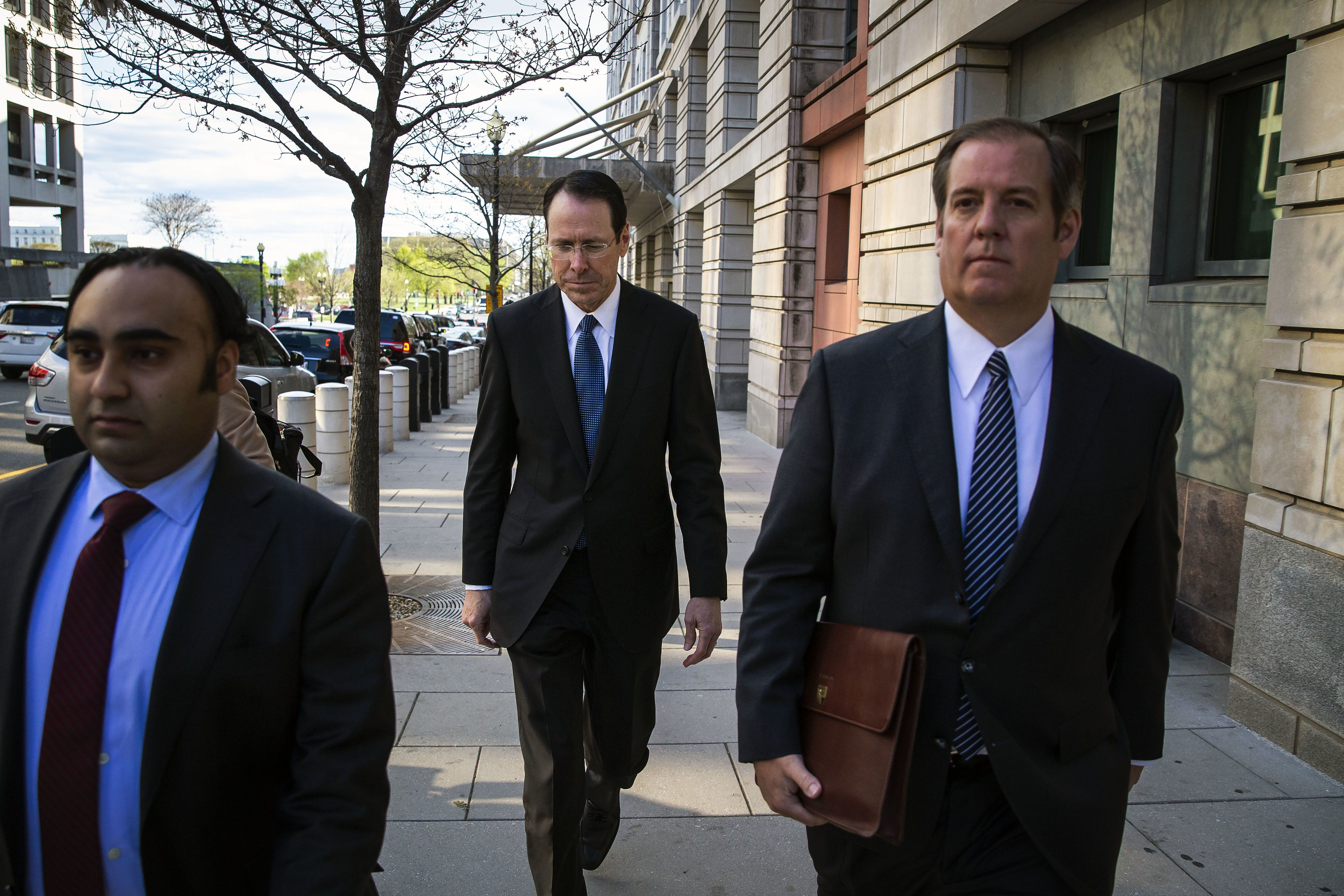 AT&T CEO and ChairmanRandall Stephenson exits federal court in April