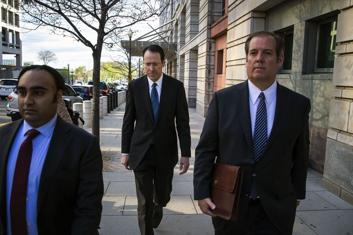 AT&T CEO and Chairman Randall Stephenson exits federal court in April.