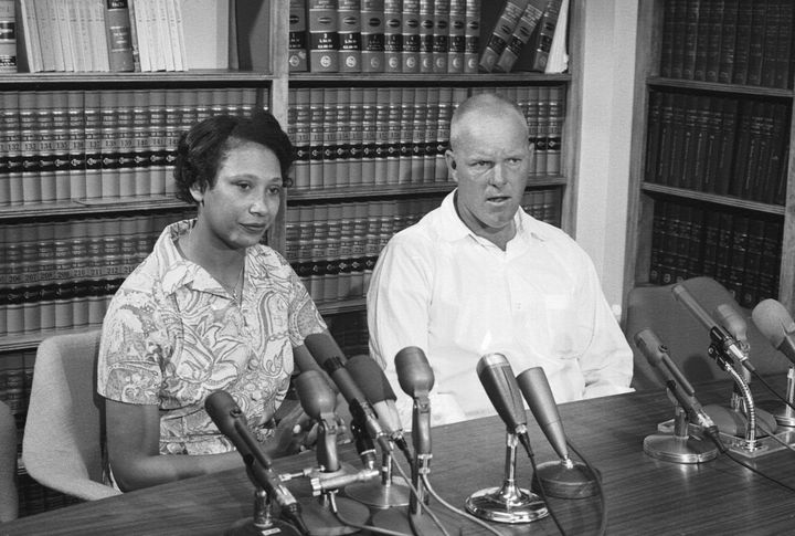 Mildred and Richard Loving answer questions at a June 1967 news conference the day after the Supreme Court ruled in their favor in Loving v. Virginia.