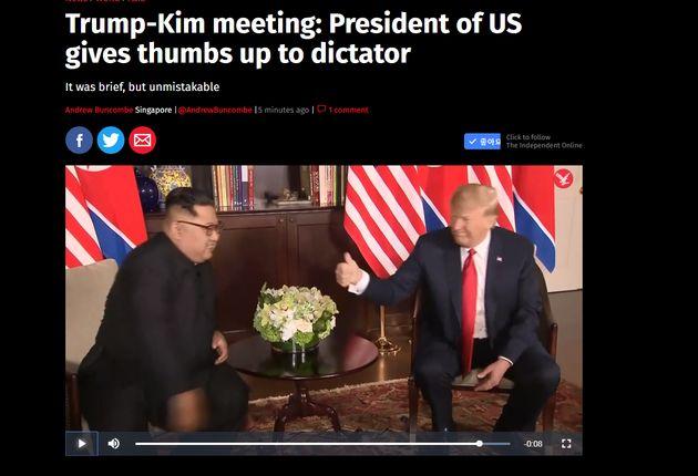인디펜더트가 뽑은 정상회담 기자회견의 헤드라인과 트럼프 대통령이 엄지를 치켜세우는