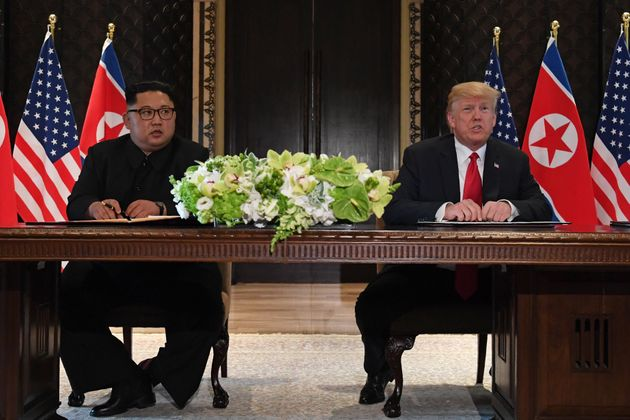 President Donald Trump speaks at a signing ceremony with North Korea's leader Kim Jong Un on June 12,