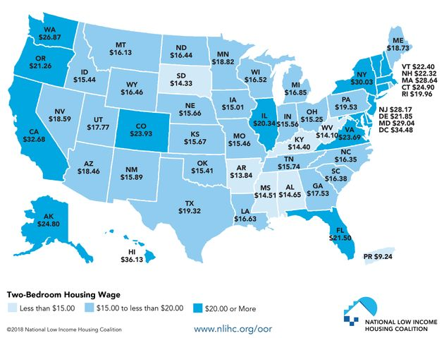 A map showing the hourly wage a household must earn (working 40 hours a week, 52 weeks a year) to afford...