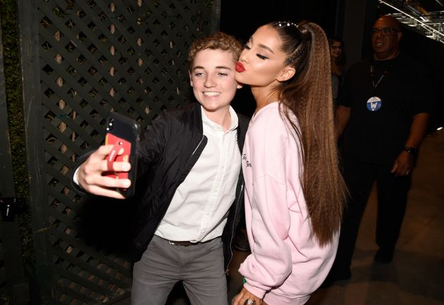 Ryan McKenna and Ariana Grande pose for a selfie backstage at the 2018 iHeartRadio Wango Tango festival...