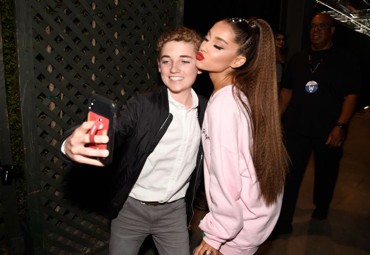 Ryan McKenna and Ariana Grande pose for a selfie backstage at the 2018 iHeartRadio Wango Tango festival on June 2.