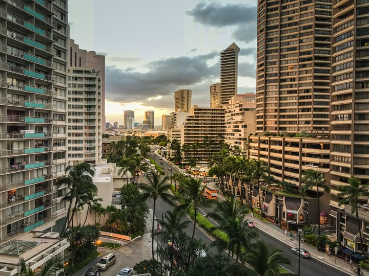 High rise buildings in Honolulu, Hawaii. Workers in this state need to earn $36.13 an hour to afford a modest two-bed rental
