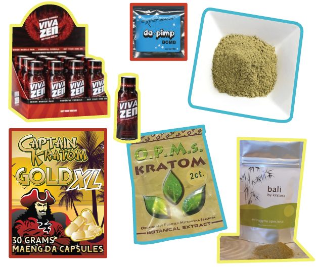 An assortment of kratom products, which are marketed in the U.S. as herbal