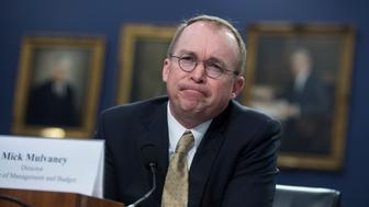 UNITED STATES - APRIL 18: Office of Management and Budget Director Mick Mulvaney testifies before a House Appropriations Financial Services and General Government Subcommittee hearing in Rayburn Building on the FY2019 Budget for OMB on April 18, 2018. (Photo By Tom Williams/CQ Roll Call)