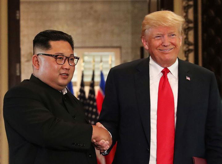 U.S. President Donald Trump and North Korea's leader Kim Jong Un in Singapore on Tuesday.