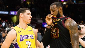 CLEVELAND, OH - DECEMBER 14: Lonzo Ball #2 of the Los Angeles Lakers listens to LeBron James #23 of the Cleveland Cavaliers after the game at Quicken Loans Arena on December 14, 2017 in Cleveland, Ohio. The Cavaliers defeated the Lakers 121-112. NOTE TO USER: User expressly acknowledges and agrees that, by downloading and or using this photograph, User is consenting to the terms and conditions of the Getty Images License Agreement. (Photo by Jason Miller/Getty Images)