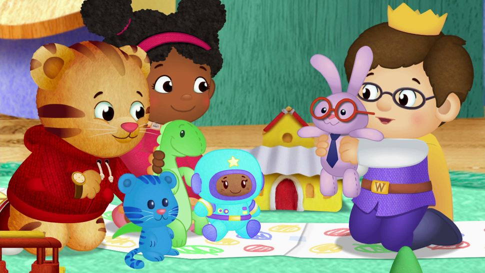 "From left: Daniel Tiger, Miss Elaina and Prince Wednesday on ""Daniel Tiger's Neighborhood."""