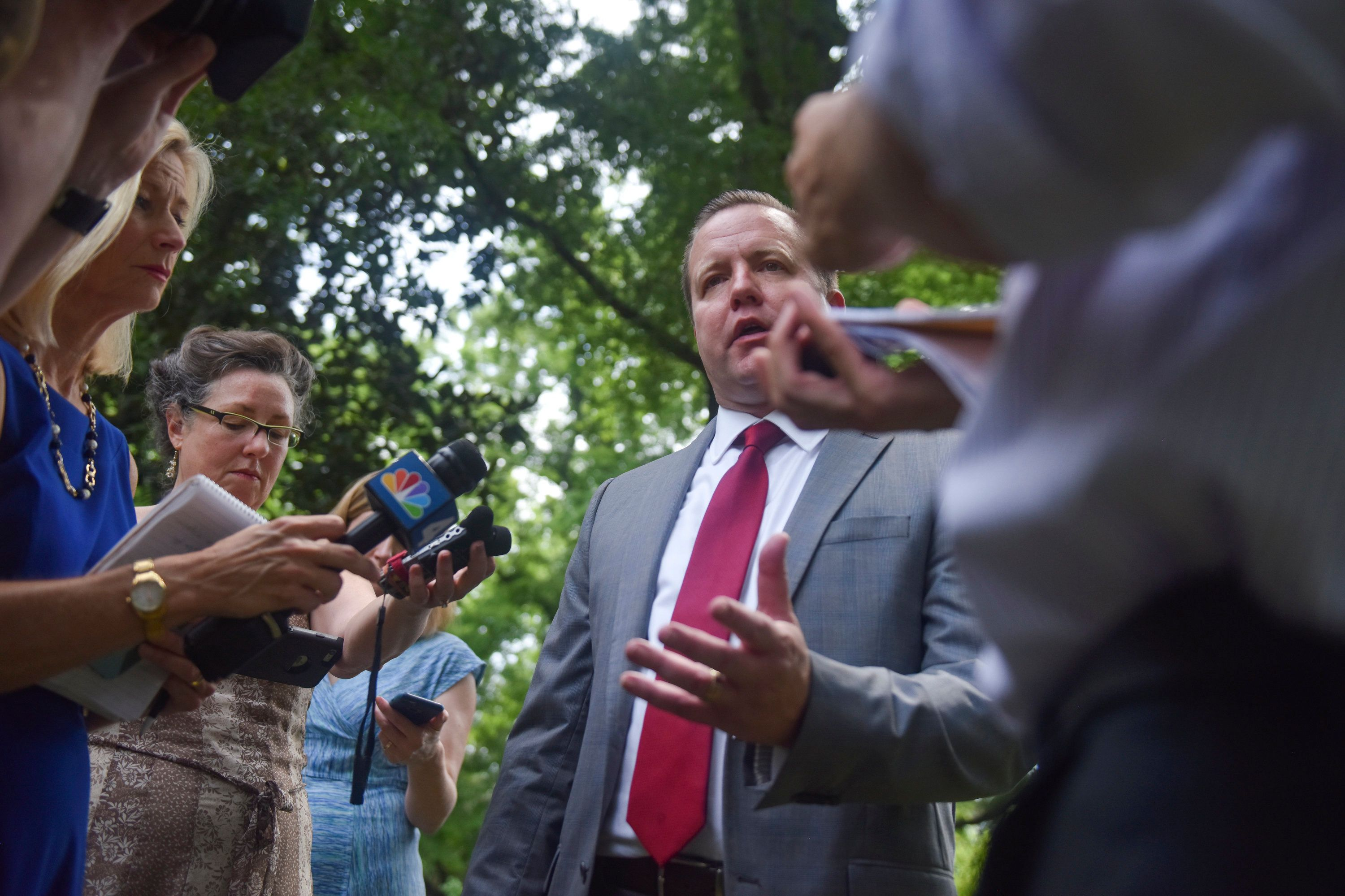 WOODBRIDGE, VA - JULY 13: Corey Stewart talks with the media after his announcement to challenge Senator Tim Kaine (D-Va.) in 2018, at his home on Thursday, July 13, 2017, in Woodbridge, VA.  Stewart is the Prince William Republican who nearly won the GOP nomination for Virginia governor last month by running a populist campaign that celebrated the Confederacy and slammed illegal immigrants.   (photo by Jahi Chikwendiu/The Washington Post via Getty Images)
