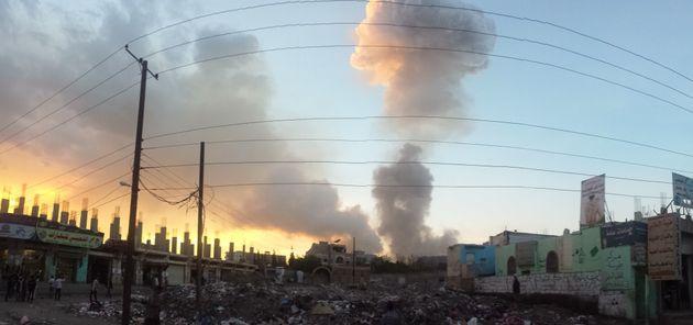 An air strike over Sana'a,