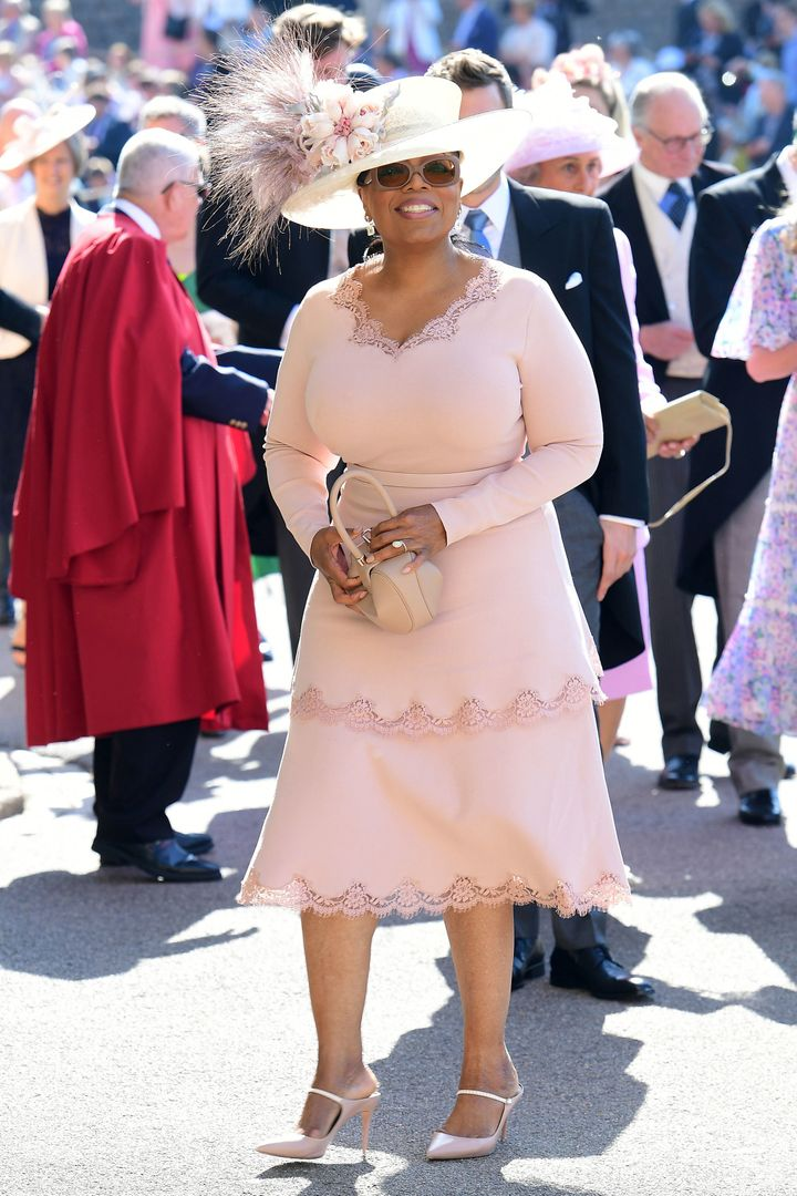 Her Majesty Oprah Winfrey arrives at St. George's Chapel at Windsor Castle for the royal wedding.