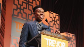 NEW YORK, NY - JUNE 11:  Screenwriter, producer and actor Lena Waithe accepts the Hero Award onstage during The Trevor Project TrevorLIVE NYC at Cipriani Wall Street on June 11, 2018 in New York City.  (Photo by Craig Barritt/Getty Images for The Trevor Project)
