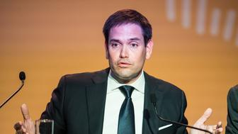 US Senator Marco Rubio speaks during a press conference at the Eighth Americas Summit in Lima, on April 14, 2018. US strikes on Syria overshadowed the Americas Summit, which ends Saturday condemning corruption and calling for more sanctions on the Venezuelan government. / AFP PHOTO / Ernesto BENAVIDES        (Photo credit should read ERNESTO BENAVIDES/AFP/Getty Images)