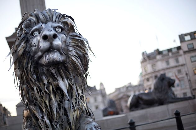 A lion statue, in Trafalgar Square, London, was sculpted from clock parts as a warning of possible extinction of the species within our lifetime