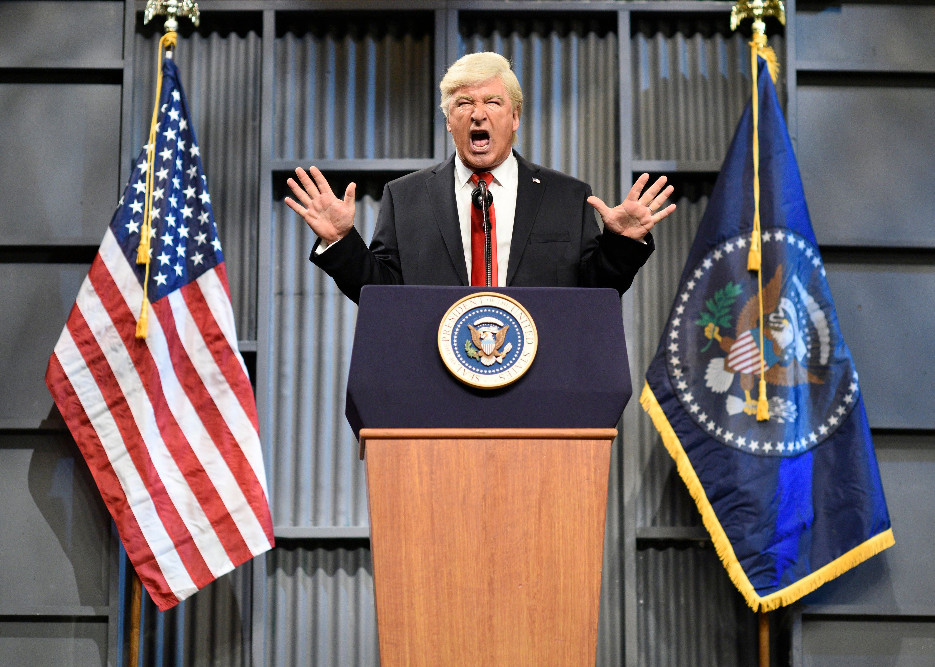 SATURDAY NIGHT LIVE -- 'Kumail Nanjiani' Episode 1728 -- Pictured: Alec Baldwin as President Donald J. Trump during 'Trucker Rally Cold Open' on Saturday, October 14, 2017 in Studio 8H -- (Photo by: Will Heath/NBC/NBCU Photo Bank via Getty Images)