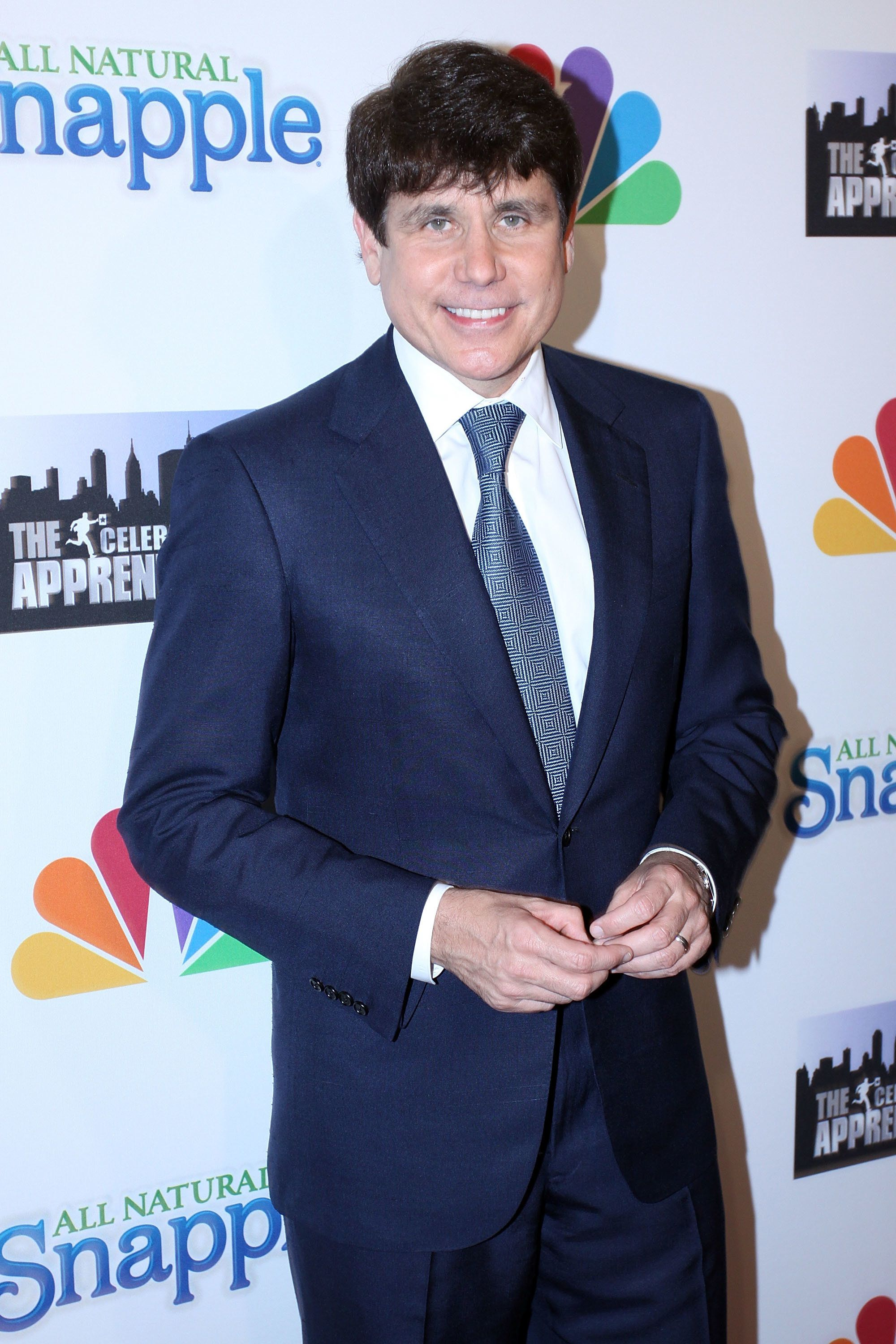 """Blagojevich, seen at a party for """"The Celebrity Apprentice"""" in 2010,was sentenced to 14 years in prison for public corr"""
