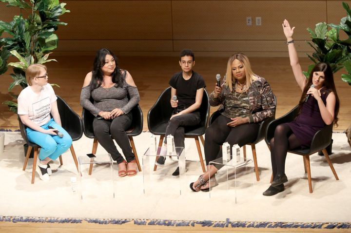 Preston, second from right, speaking on a panel at the Teen Vogue Summit on June 2.