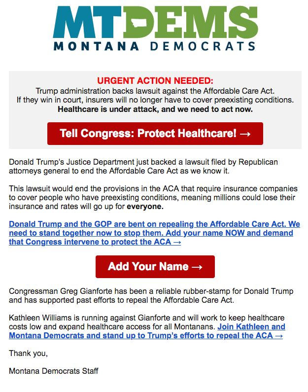 The Montana Democratic Party sent out a fundraising email on June 11 to capitalize on the Trump administration's announ
