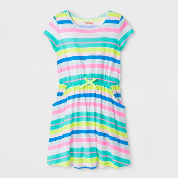 "<strong>Sizes</strong>: XS to XL<br>Get it <a href=""https://www.target.com/p/girls-short-sleeve-stripe-dress-cat-jack-153/-/A"