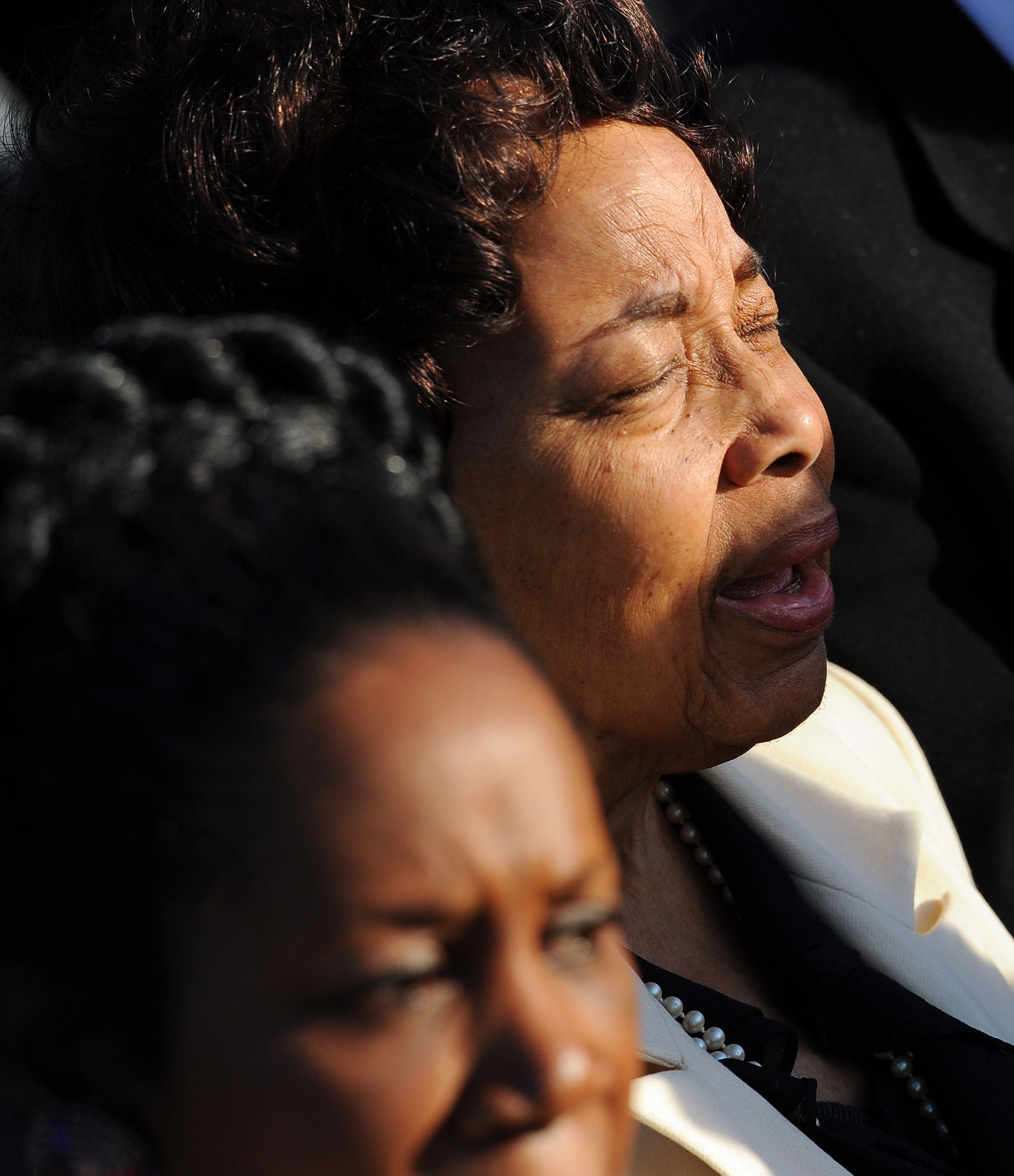 WASHINGTON , DC - OCTOBER 16: Dorothy Cotton of Ithaca, N.Y. sings along with the opening music during a dedication ceremony at The Martin Luther King, Jr. Memorial on October 16, 2011 in Washington, D.C. (Photo by Ricky Carioti/The Washington Post via Getty Images)