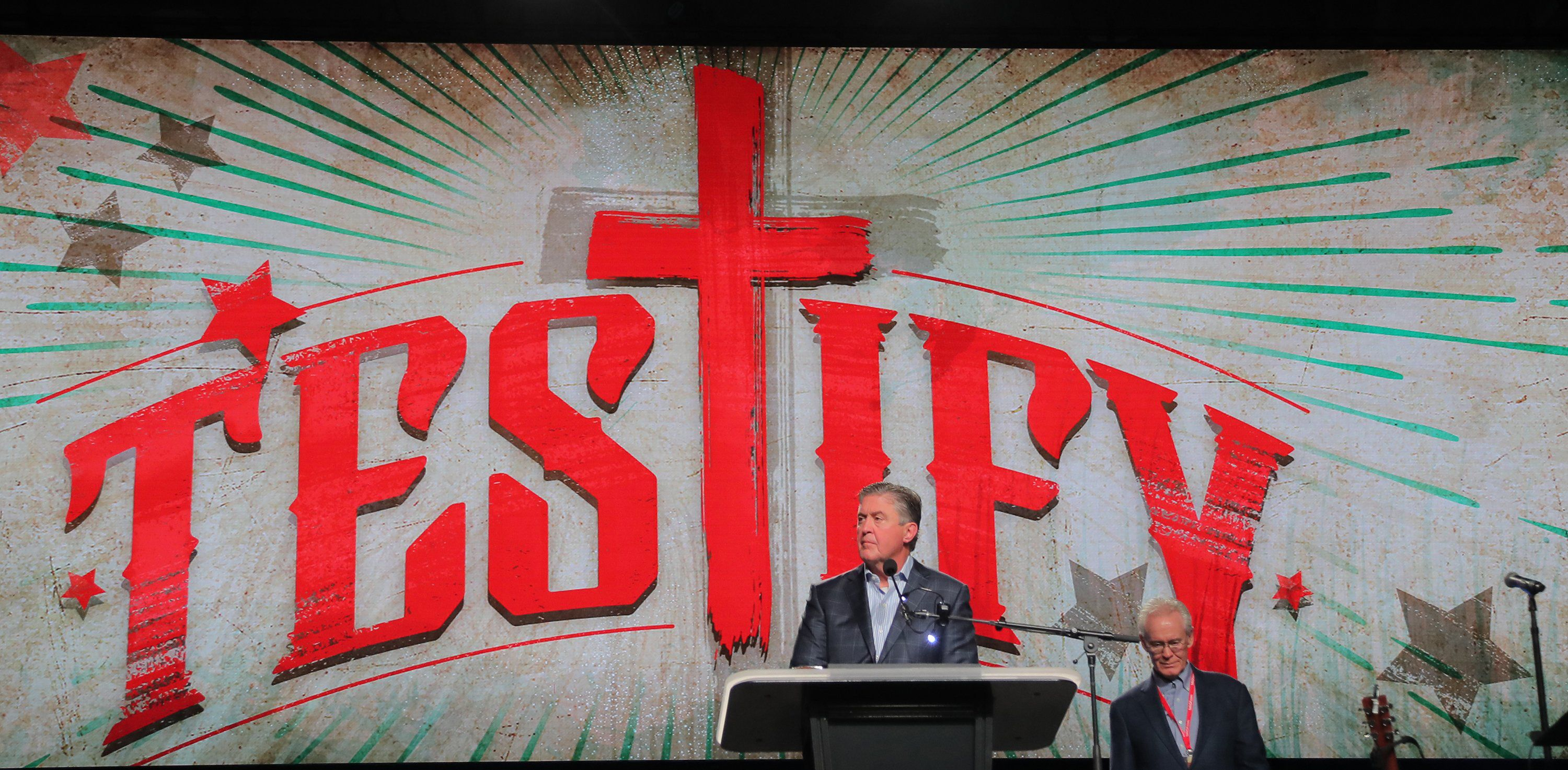Steve Gaines, president of the Southern Baptist Convention, presides at the annual meeting Tuesday in Dallas.