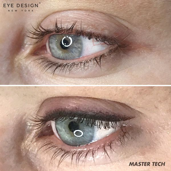Before and after a permanent eyeliner