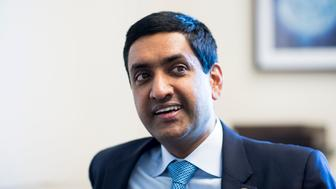 UNITED STATES - JUNE 29: Rep. Ro Khanna, D-Calif., speaks with Roll Call in his office on Thursday, June, 29, 2017. (Photo By Bill Clark/CQ Roll Call)