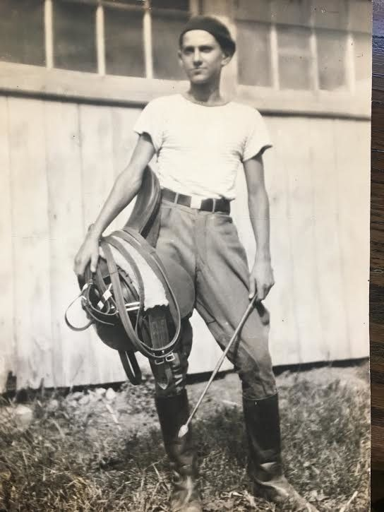 """My cool dad. Though he was long and lanky, he trained thoroughbred race horses after school in New Jersey. Circa 1935."" --&n"