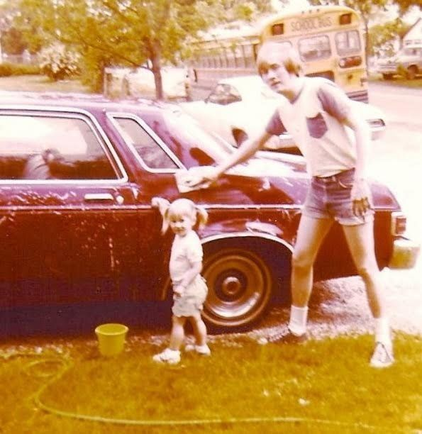 """My dad, Phil, in Grand Rapids, Michigan. My dad still owns those denim short shorts!"" -- <i>Jena Seppamaki</i>"