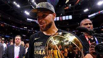 Jun 8, 2018; Cleveland, OH, USA; Golden State Warriors guard Stephen Curry (30) celebrates with the Larry O'Brien Championship Trophy after beating the Cleveland Cavaliers in game four of the 2018 NBA Finals at Quicken Loans Arena. Mandatory Credit: Kyle Terada-USA TODAY Sports