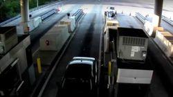 Αυτοκίνητο πέφτει με ιλιγγιώδη ταχύτητα πάνω σε σταθμό διοδίων και ο συνοδηγός εκτοξεύεται από το