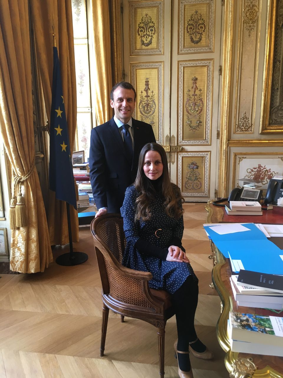 Sherin with France's president Emmanuel