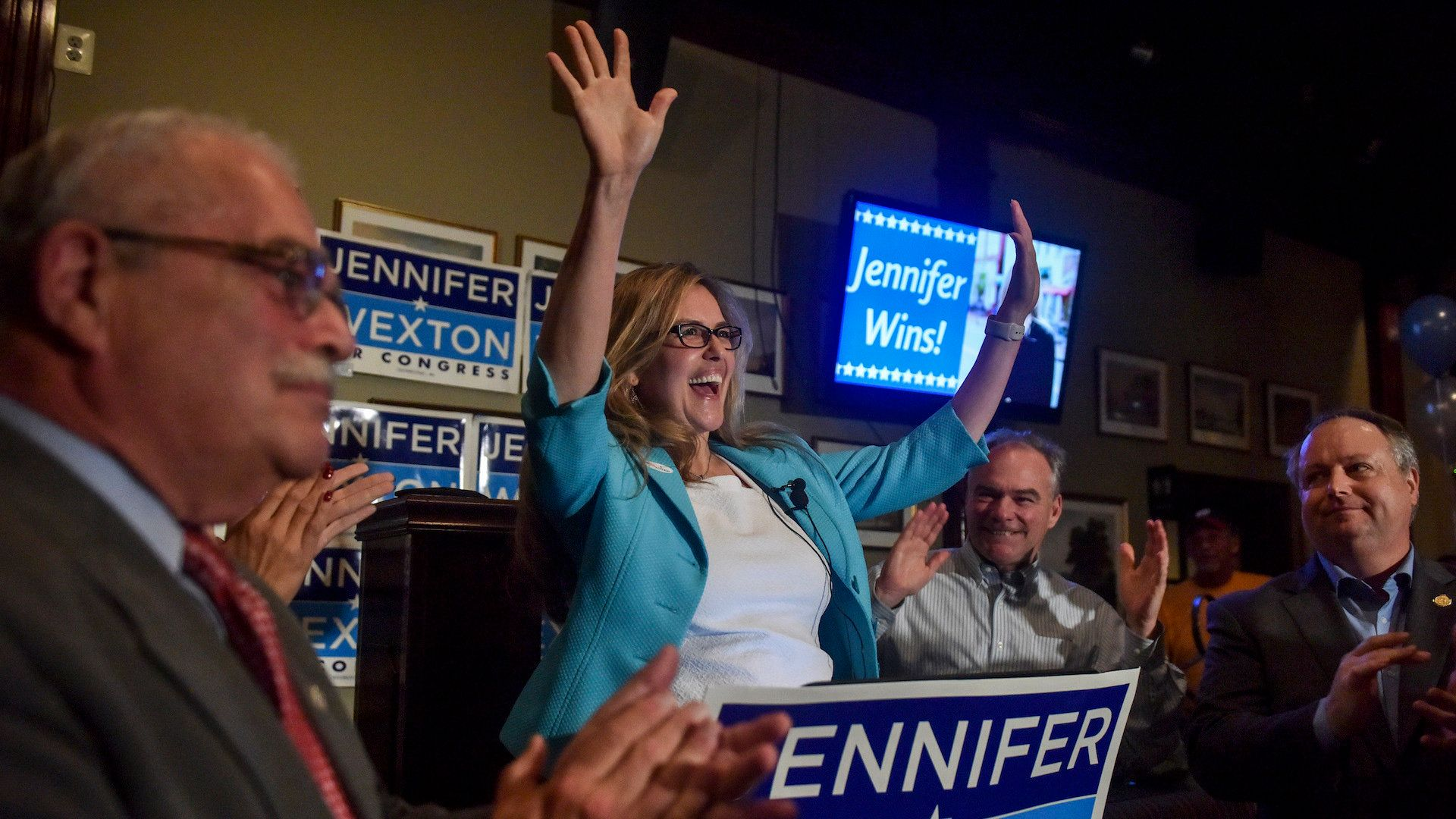 STERLING, VA - JUNE 12: Virginia State Senator Jennifer Wexton addresses her supporters at O'Faolain's Irish Pub & Restaurant after winning the Democratic nomination for Virginia's 10th Congressional District on Tuesday, June 12, 2018, in Sterling, VA.  She will face GOP incumbent Barbara Comstock. (Photo by Jahi Chikwendiu/The Washington Post via Getty Images)