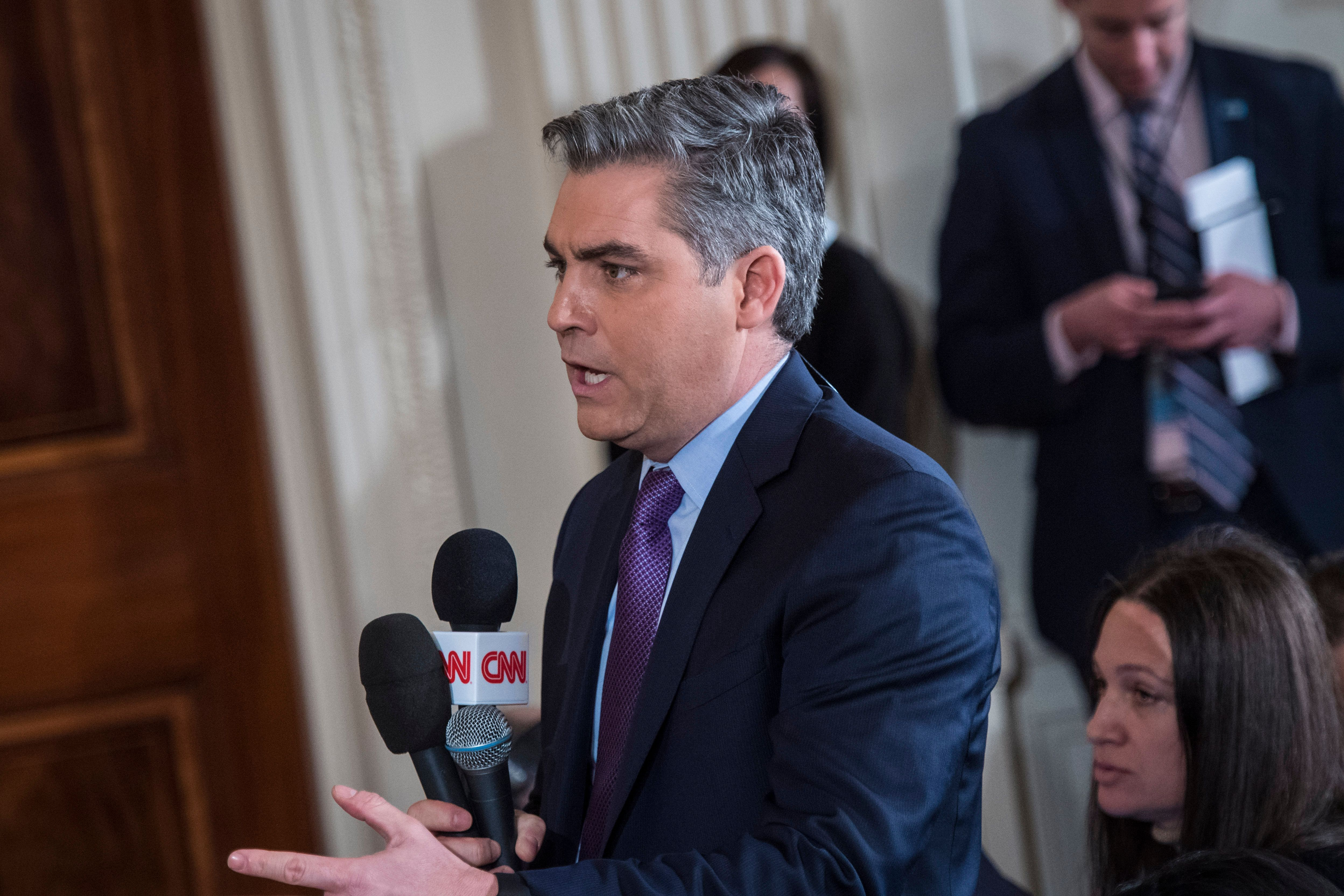 WASHINGTON, DC - FEBRUARY 16: Jim Acosta of CNN asks President Donald Trump a question during a press conference in the East Room of the White House in Washington, DC on Thursday, Feb. 16, 2017. (Photo by Jabin Botsford/The Washington Post via Getty Images)