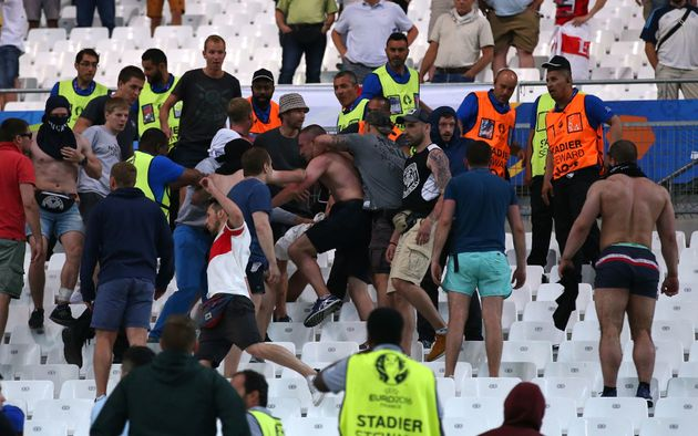 Russian football fans clash with England supporters at Stade Velodrome in Marseille in June