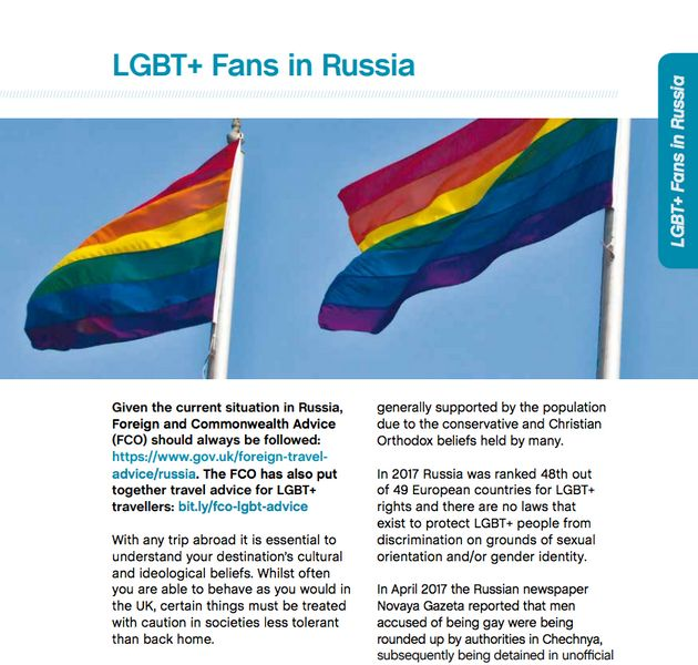 The Football Supporters' Federation has put together advice for LGBT+