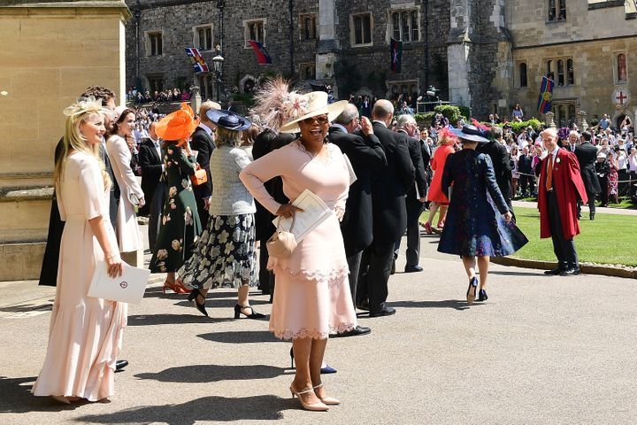 Oprah Winfrey leaves St George's Chapel at Windsor Castle after the wedding of Meghan Markle and Prince Harry.