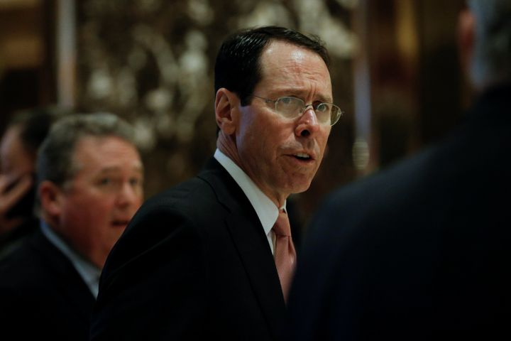 AT&T CEO Randall Stephenson arrives for meeting with President-elect Donald Trump at Trump Tower in New York in January 2017. Trump's Justice Department tried to block the company's merger with Time Warner.