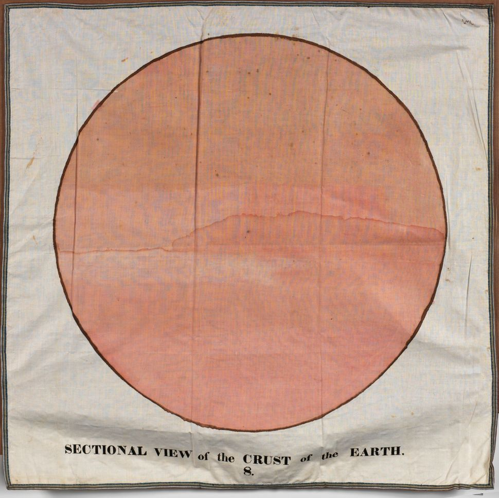 "Another classroom chart, titled ""Sectional View of the Crust of the Earth,"" created by Orra White Hitchcock circa 1830-1840."